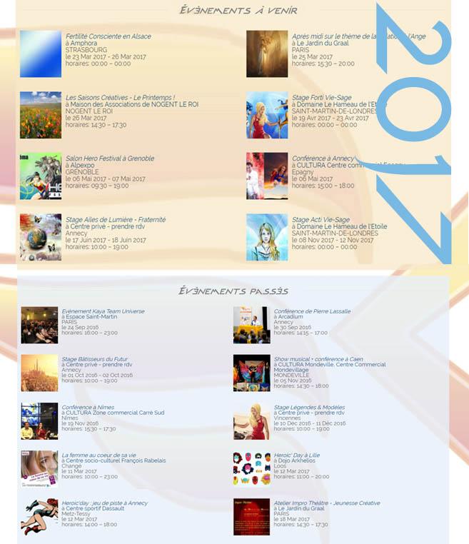 Calendrier événements 2017